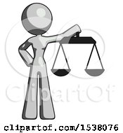 Gray Design Mascot Woman Holding Scales Of Justice