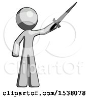 Gray Design Mascot Man Holding Sword In The Air Victoriously