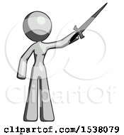 Gray Design Mascot Woman Holding Sword In The Air Victoriously