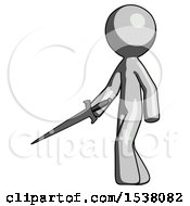 Gray Design Mascot Man With Sword Walking Confidently
