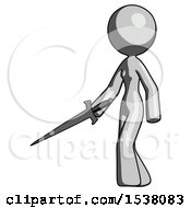 Gray Design Mascot Woman With Sword Walking Confidently