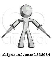 Gray Design Mascot Man Two Sword Defense Pose