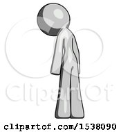 Gray Design Mascot Woman Depressed With Head Down Back To Viewer Left