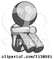 Gray Design Mascot Woman Sitting With Head Down Facing Angle Right