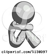 Gray Design Mascot Woman Sitting With Head Down Facing Sideways Right