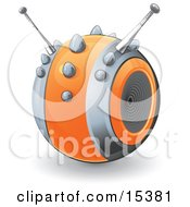 Orange Circular Robot With Antennae Resembling A Speaker