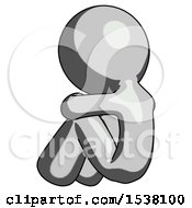 Gray Design Mascot Man Sitting With Head Down Back View Facing Left