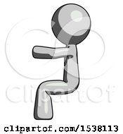 Gray Design Mascot Man Sitting Or Driving Position