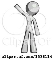 Gray Design Mascot Woman Waving Emphatically With Right Arm