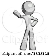 Gray Design Mascot Man Waving Right Arm With Hand On Hip
