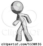 Gray Design Mascot Man Suspense Action Pose Facing Left