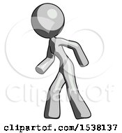 Gray Design Mascot Woman Suspenseaction Pose Facing Left