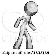 Gray Design Mascot Woman Suspense Action Pose Facing Right