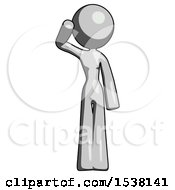 Gray Design Mascot Woman Soldier Salute Pose