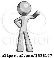 Gray Design Mascot Man Waving Left Arm With Hand On Hip
