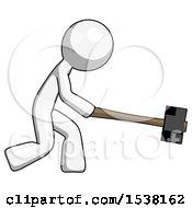 White Design Mascot Man Hitting With Sledgehammer Or Smashing Something