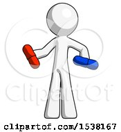 White Design Mascot Man Red Pill Or Blue Pill Concept