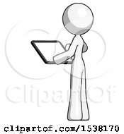 White Design Mascot Woman Looking At Tablet Device Computer With Back To Viewer