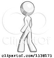 White Design Mascot Woman Walking Away Direction Left View