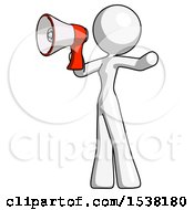 White Design Mascot Woman Shouting Into Megaphone Bullhorn Facing Left