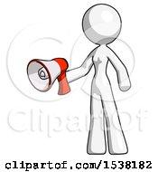 White Design Mascot Woman Holding Megaphone Bullhorn Facing Right