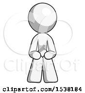 White Design Mascot Woman Squatting Facing Front
