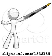 White Design Mascot Man Pen Is Mightier Than The Sword Calligraphy Pose