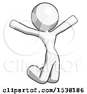 White Design Mascot Woman Jumping Or Kneeling With Gladness