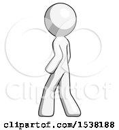 White Design Mascot Man Walking Away Direction Left View