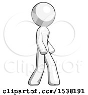 White Design Mascot Man Walking Turned Right Front View