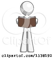 White Design Mascot Woman Reading Book While Standing Up Facing Viewer