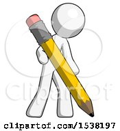 White Design Mascot Man Writing With Large Pencil