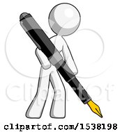 White Design Mascot Woman Drawing Or Writing With Large Calligraphy Pen