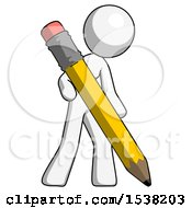 White Design Mascot Woman Drawing With Large Pencil