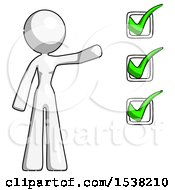 White Design Mascot Woman Standing By A Checkmark List Arm Extended