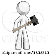 White Design Mascot Man With Sledgehammer Standing Ready To Work Or Defend