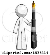 White Design Mascot Man Holding Giant Calligraphy Pen