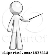 White Design Mascot Man Teacher Or Conductor With Stick Or Baton Directing
