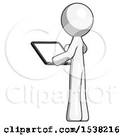 White Design Mascot Man Looking At Tablet Device Computer With Back To Viewer