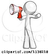 White Design Mascot Man Shouting Into Megaphone Bullhorn Facing Left