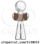 White Design Mascot Man Reading Book While Standing Up Facing Viewer