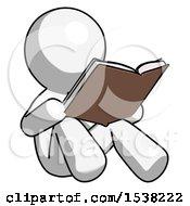 White Design Mascot Man Reading Book While Sitting Down