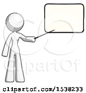 White Design Mascot Woman Pointing At Dry Erase Board With Stick Giving Presentation
