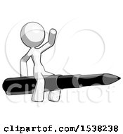 White Design Mascot Woman Riding A Pen Like A Giant Rocket
