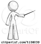 White Design Mascot Woman Teacher Or Conductor With Stick Or Baton Directing