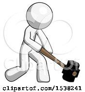 White Design Mascot Man Hitting With Sledgehammer Or Smashing Something At Angle