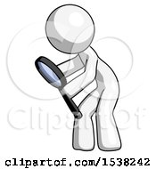 White Design Mascot Man Inspecting With Large Magnifying Glass Left