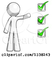 White Design Mascot Man Standing By List Of Checkmarks