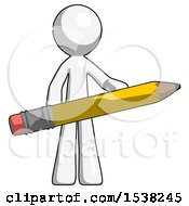 White Design Mascot Man Writer Or Blogger Holding Large Pencil