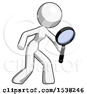 White Design Mascot Woman Inspecting With Large Magnifying Glass Right